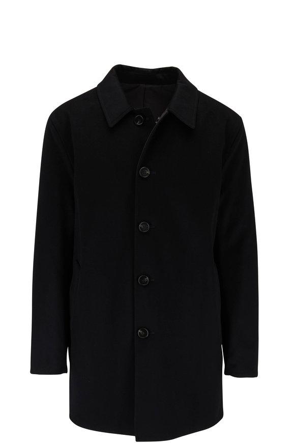 Maurizio Baldassari Black Wool & Nylon Reversible Raincoat