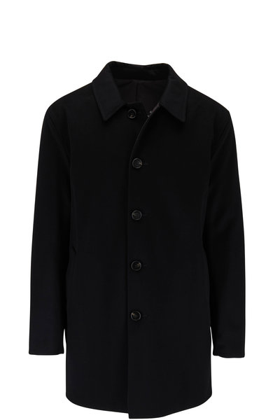 Maurizio Baldassari - Black Wool & Nylon Reversible Raincoat
