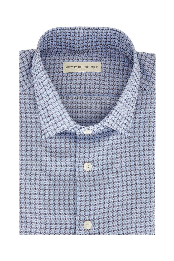 Etro Blue Mini Geometric Printed Sport Shirt