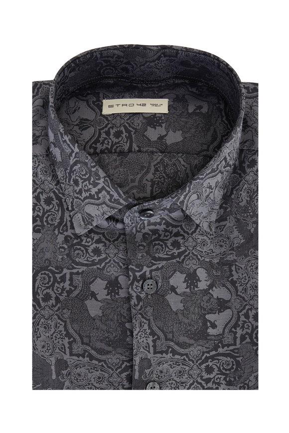 Etro Charcoal Gray Paisley Sport Shirt