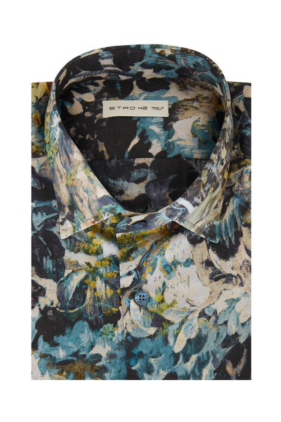 Etro Blue Watercolor Printed Sport Shirt