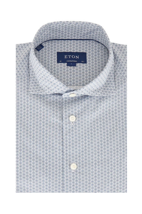 Eton Navy Blue Medallion Contemporary Fit Sport Shirt