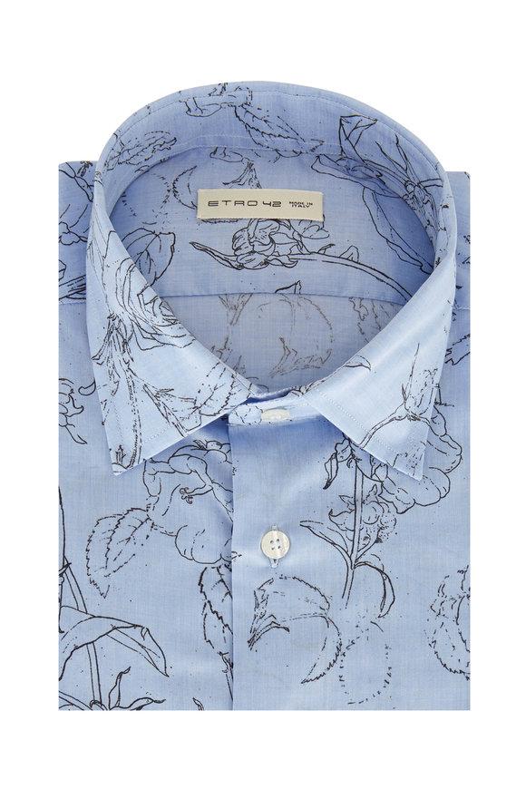 Etro Light Blue Floral Sketch Sport Shirt