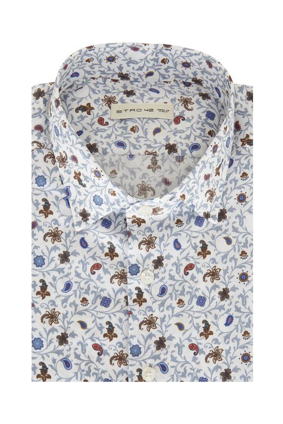 Etro Multi Floral Printed Sport Shirt