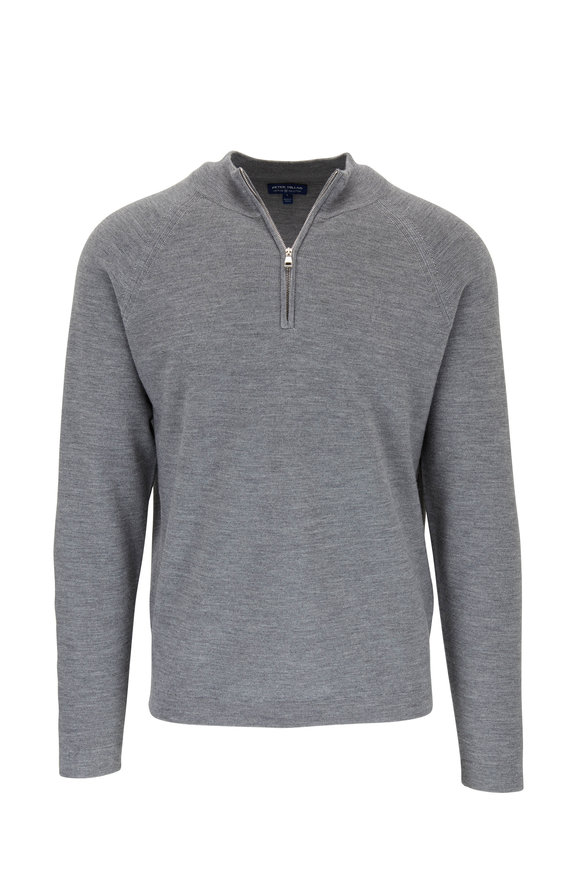 Peter Millar Crown Crafted Gray Quarter-Zip Pullover
