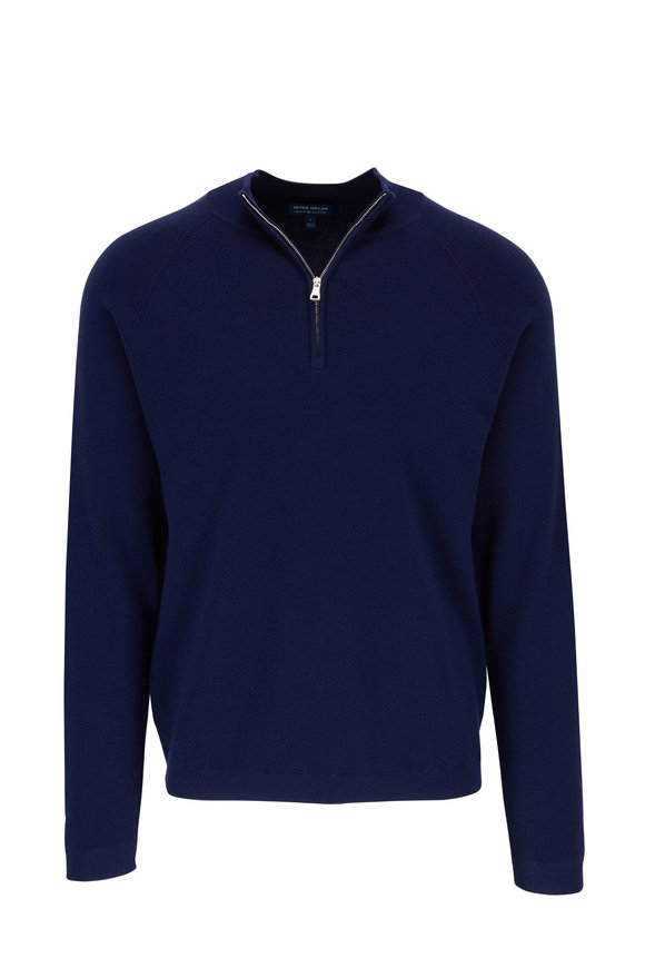 Peter Millar Crown Crafted Navy Quarter-Zip Pullover