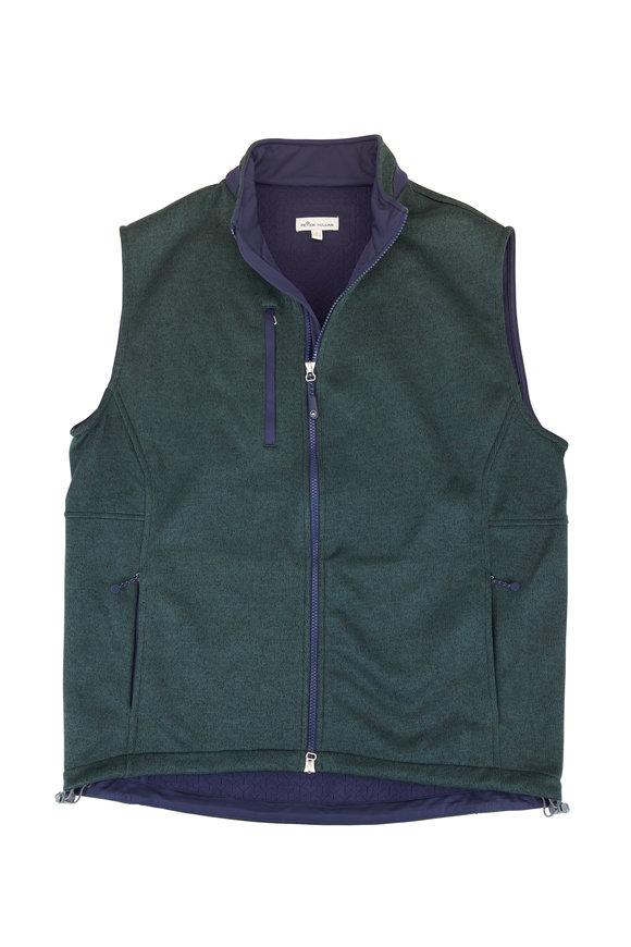 Peter Millar Legacy Green Fleece Front Zip Vest
