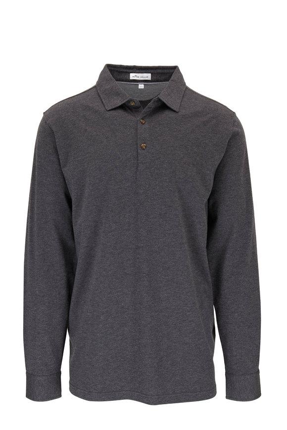 Peter Millar Crown Fleece Kingsland Iron Long Sleeve Polo