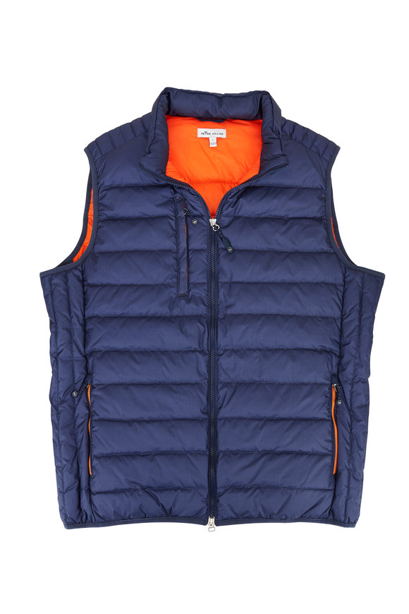 Peter Millar Elite Navy Herringbone Quilted Down Vest