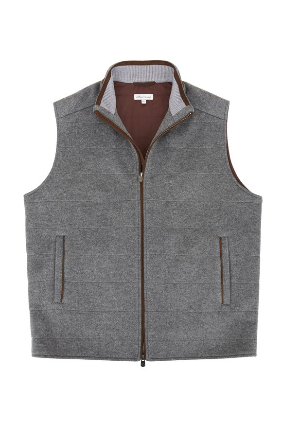 Peter Millar Charcoal Flex Fleece Quilted Vest
