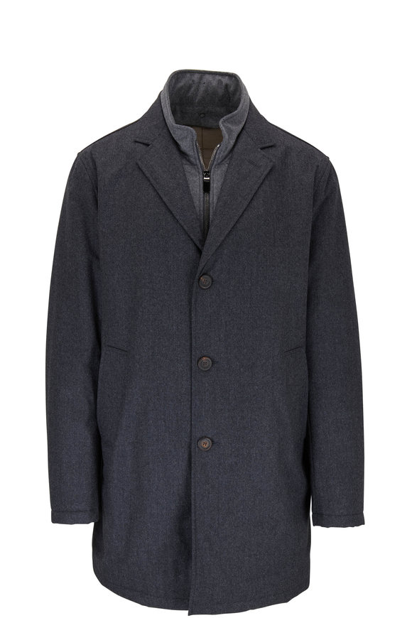Charcoal Grey Wool Dickey Trench Coat