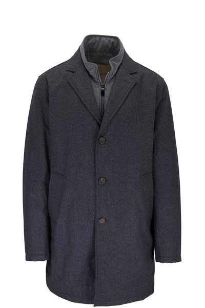 Canali - Charcoal Grey Wool Dickey Trench Coat