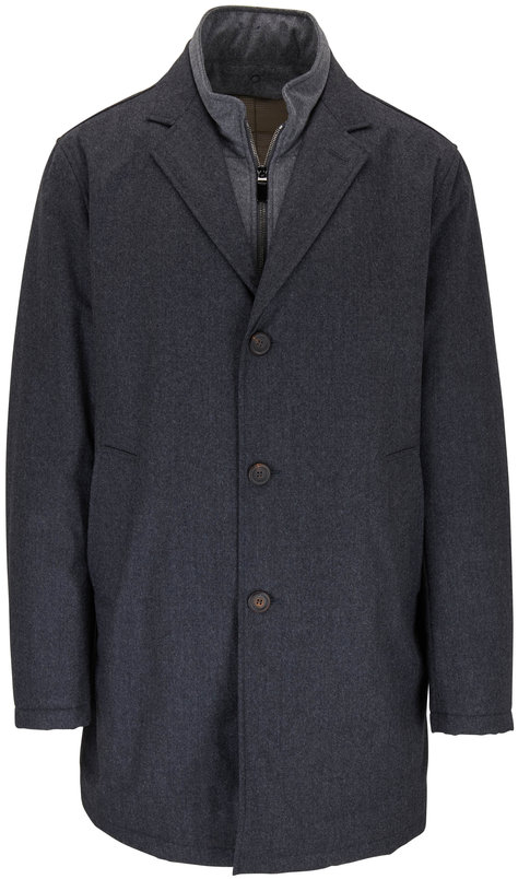 Canali Charcoal Grey Wool Dickey Trench Coat