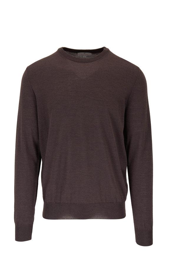 Canali Brown Extrafine Merino Wool Crewneck Pullover