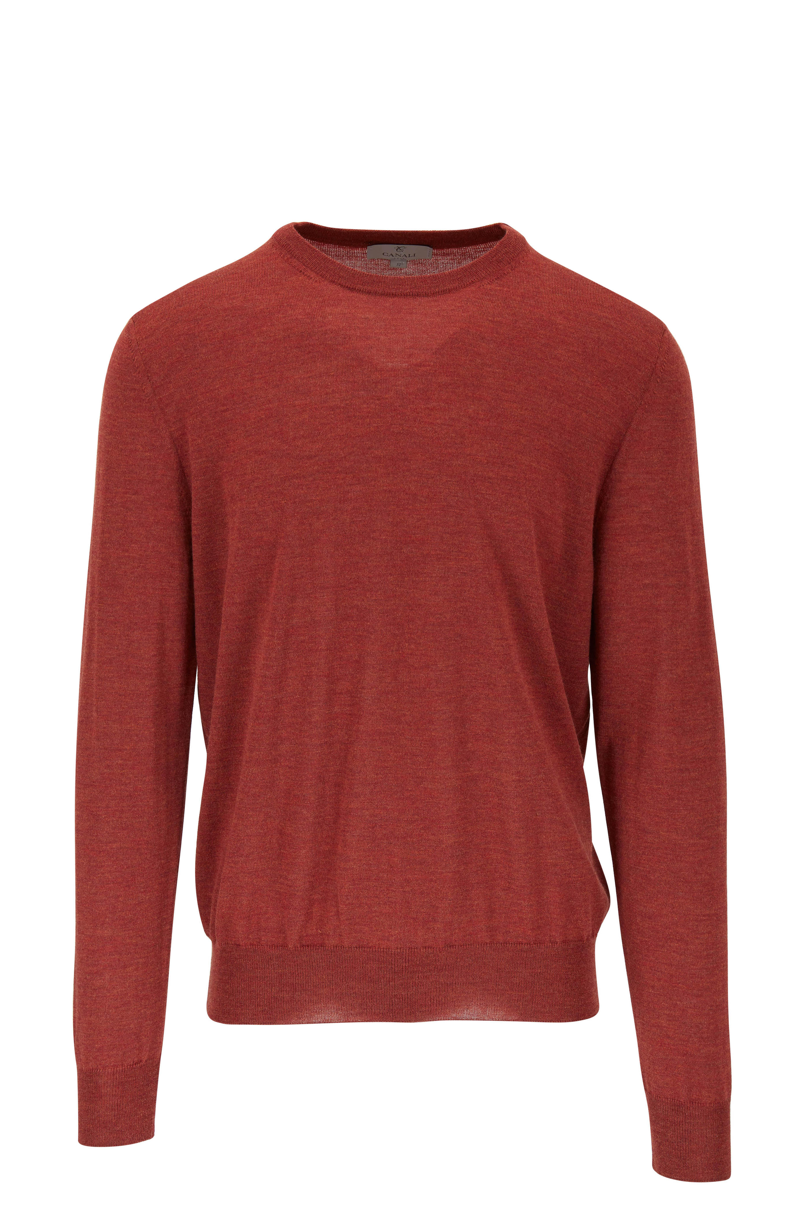 3b814f08fd Canali - Rust Extrafine Merino Wool Crewneck Pullover | Mitchell Stores