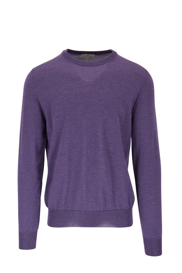 Canali Purple Extrafine Merino Wool Crewneck Pullover