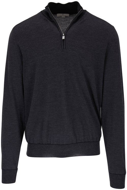 Canali Charcoal Wool Quarter-Zip Pullover