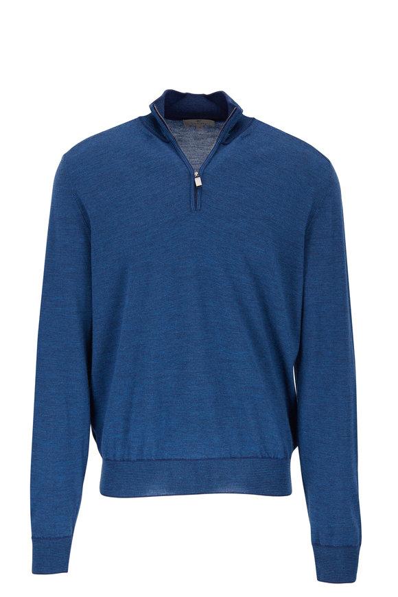 Canali Blue Wool Quarter-Zip Mockneck Pullover