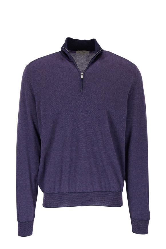 Canali Purple Wool Quarter-Zip Mockneck Pullover
