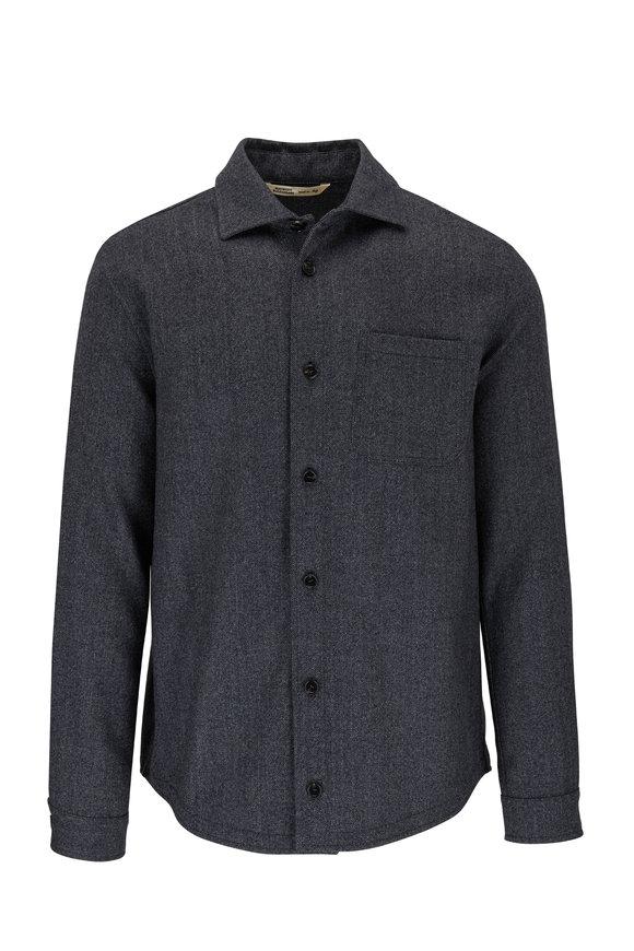 Maurizio Baldassari Charcoal Gray Herringbone Wool Overshirt