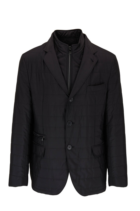 Corneliani Milestones Black Quilted Dickey Jacket