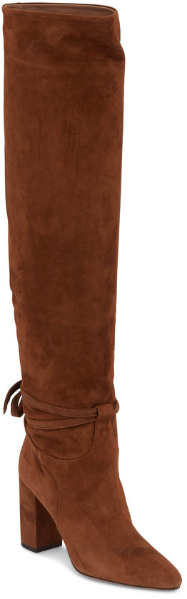 Aquazzura Milano Cinnamon Over-The-Knee Slouch Boot, 85mm