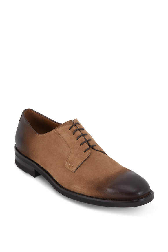 Bruno Magli Bryce Taupe Suede Burnished Toe Derby Shoe