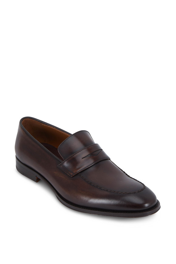 Bruno Magli Fanetta Dark Brown Antiqued Leather Penny Loafer