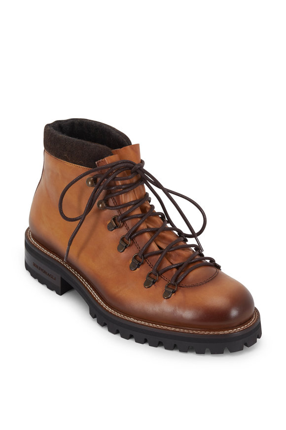 Bruno Magli Alpino Cognac Leather Hiking Boot