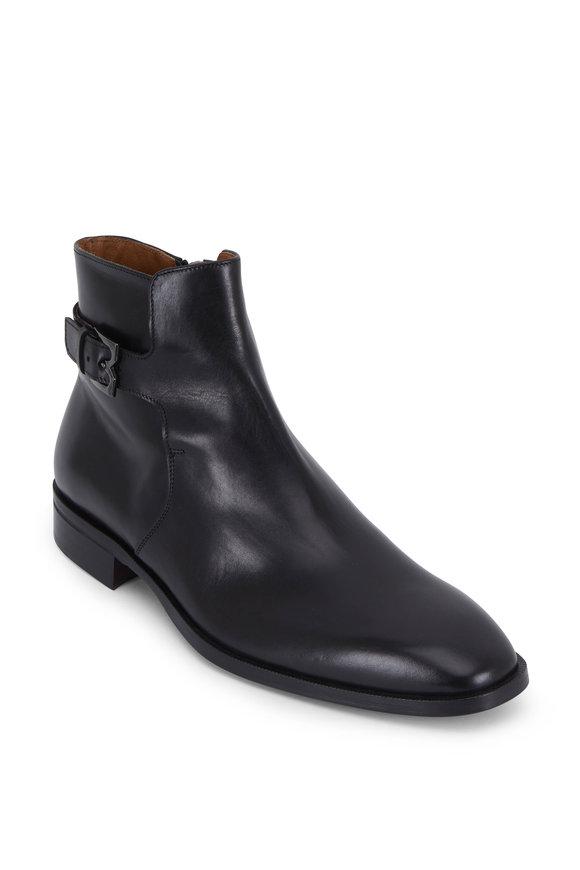 Bruno Magli Angiolini Black Leather Buckled Boot