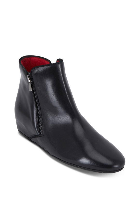 Pas de Rouge Omer Black Leather Hidden Wedge Bootie