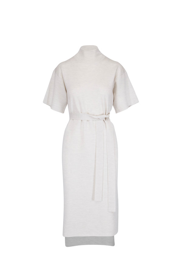 CO Collection Chalk Merino Wool Mock Neck Belted Dress