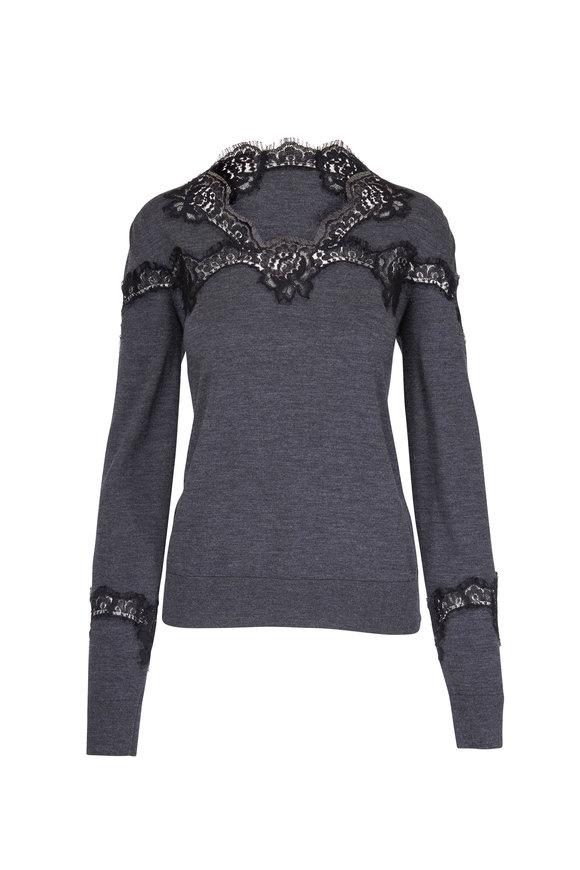 Dolce & Gabbana Grey Knit Lace Sweater