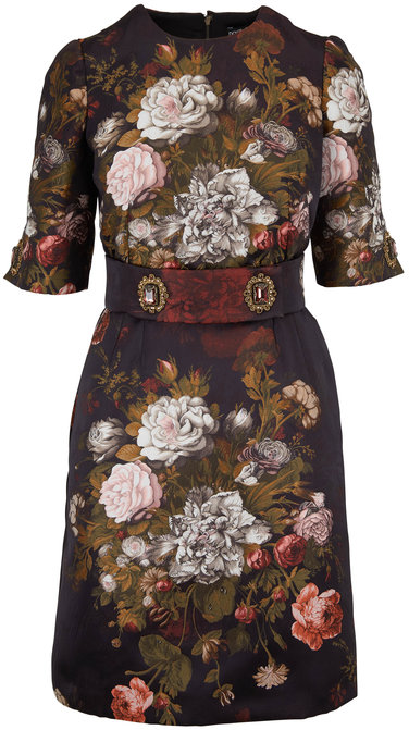 Dolce & Gabbana Black Floral Jacquard Jeweled Belted Dress