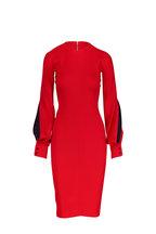 Victoria Beckham - Red Slash Sleeve Fitted Midi Dress