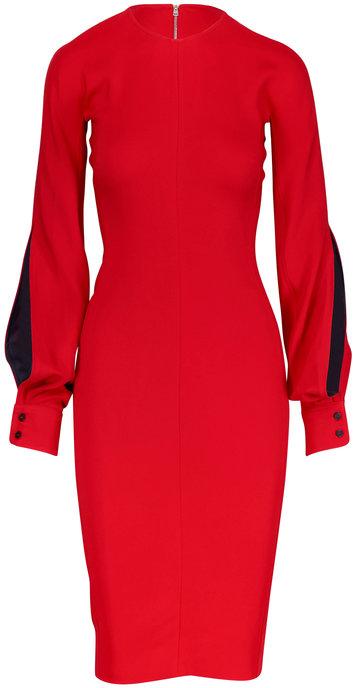 Victoria Beckham Red Slash Sleeve Fitted Midi Dress