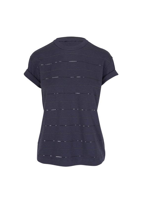 Brunello Cucinelli Midnight Monili & Pailette Striped T-Shirt