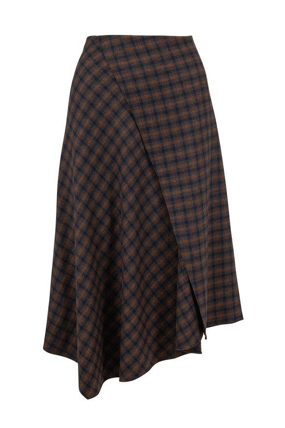 Vince Mahogany Check Plaid Draped Skirt