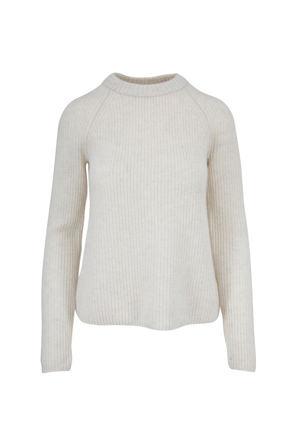 Vince Shaker Heather White Cashmere Sweater