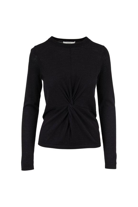 Vince Black Twist Wool & Silk Crewneck Sweater