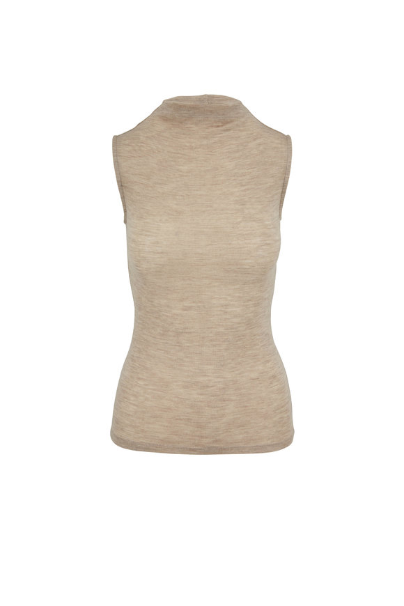 Vince Heather Sand Sleeveless Funnel Neck Top