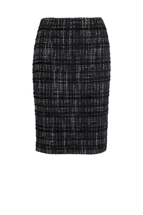 Paule Ka Black Tweed & Lurex Pencil Skirt