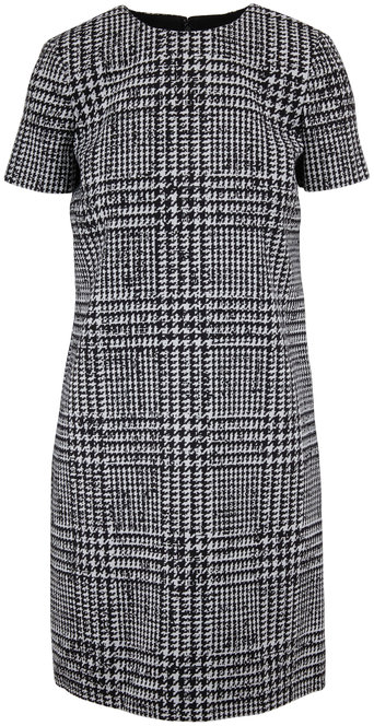 Carolina Herrera Ivory & Black Houndstooth Short Sleeve Shift Dress