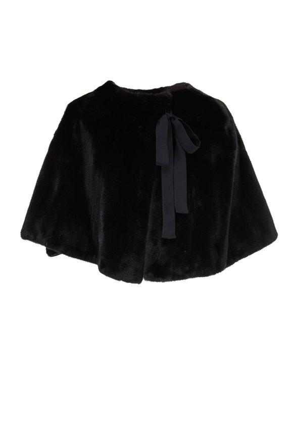 Oscar de la Renta Furs Black Mink Self-Tie Caplet