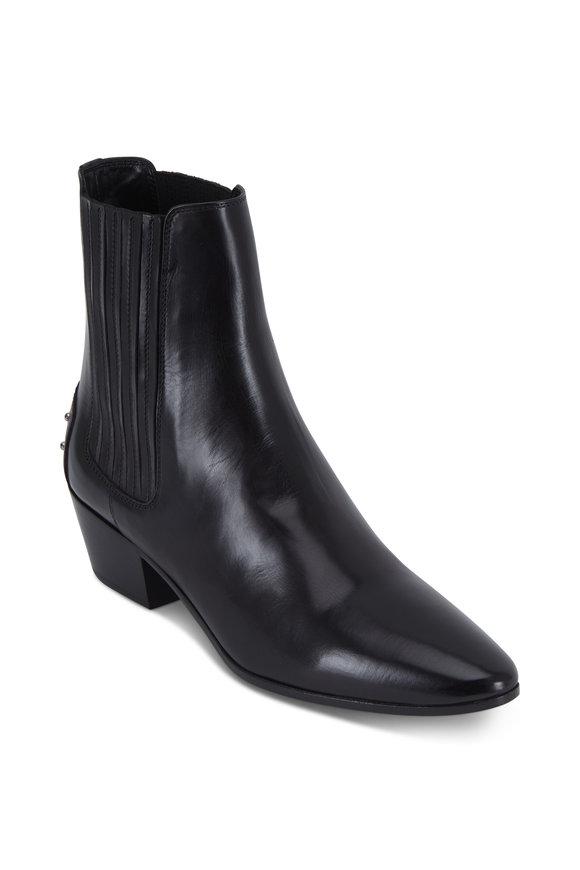 Saint Laurent West Black Vitellino Leather Ankle Boot, 45mm
