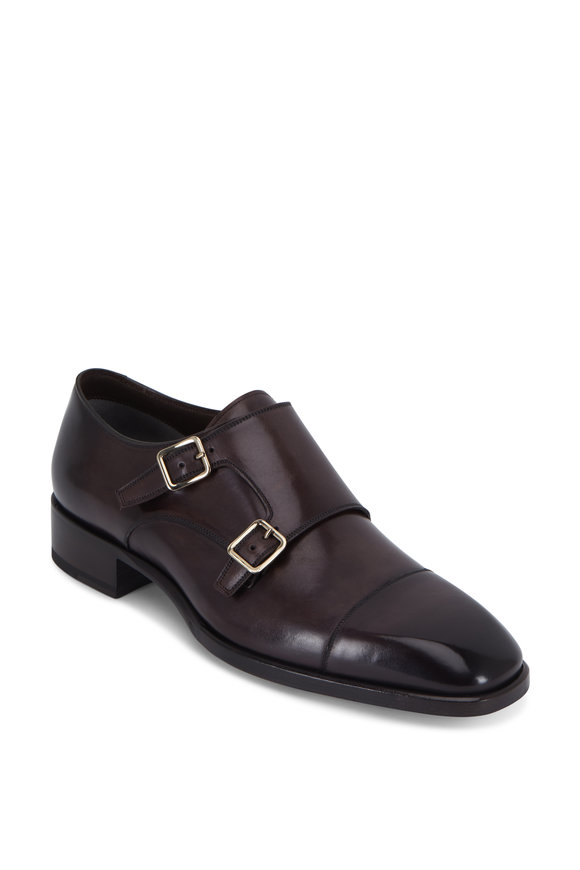 Tom Ford Dark Brown Leather Cap-Toe Monk Shoe