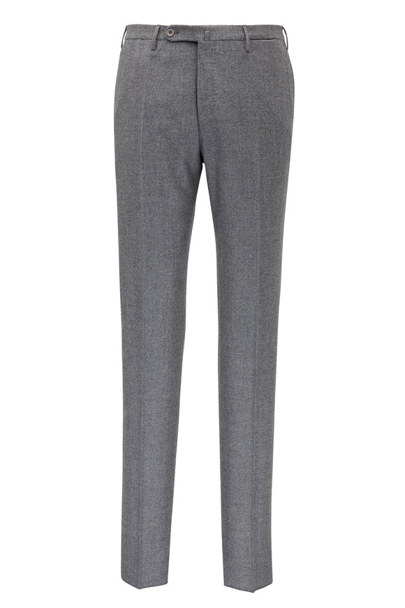 Incotex Mid Grey Flannel Wool Pant