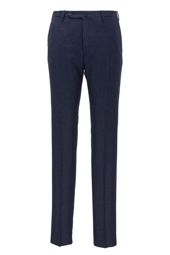 Incotex Dark Navy Flannel Wool Pant