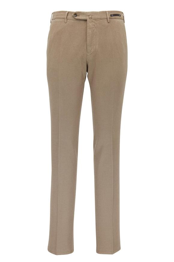 PT Pantaloni Torino Walnut Taupe Soft Twill Flat Front Slim Fit Pant