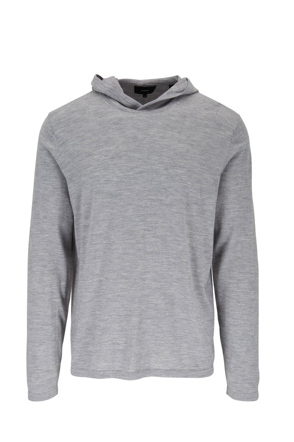 Vince Light Gray Wool & Cashmere Fine Knit Hoodie